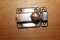 Vintage Small Copper Plated Pantry Cabinet Curio Latch Lock M-28