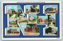 Postcard Nh Large Letter Multiviews University Of New Hampshire Campus 1936 U7