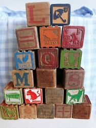 Antique Lot Of 20 Wood Wooden Alphabet Pictures Childs Toy Play Blocks Vintage
