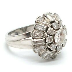 Antique Art Deco Ring Platinum Marked 950 Embedded 2.2 Ct Of Old Cut Diamonds