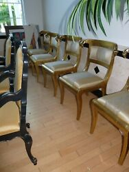 Rams Head Anglo Indian Wedding Chairs Gold Leaf Silk Upholstered Back New Pair