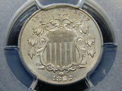 1883/2 5c Shield Nickel Au-58 Pcgs Cool Overdate Nice Coin