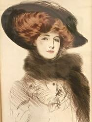 Paul Cesar Helleu Lg Colored Redhead Drypoint Etching Free Us Shipping Jtix