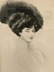 Paul Cesar Helleu Lg Drypoint Etching Lady With A Hat Free Us Shipping Rix