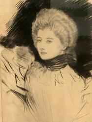 Paul Cesar Helleu Drypoint Etching Belle Epoch Blonde Girl Free Us Shipping Ttx