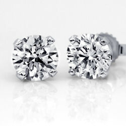 1 Ct Diamond Stud Earrings Round Cut E Si2 14k White Gold Solitaire 52567629