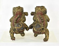 Pair Antique Chinese Red And Gilt Wood Carved Statue Sculpture Of Fu Foo Dog Lion