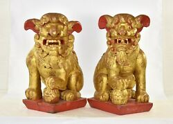 Pair Large Antique Chinese Red Gilt Wood Carved Statue Sculpture Fu Foo Dog Lion