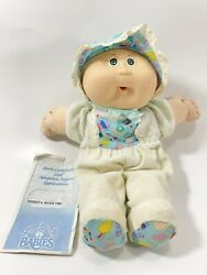 Vtg 1986 Cabbage Patch Kid Babies Baby Bbb Bean Butt Bald Green Eyes W/outfit