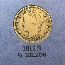 Liberty Nickels Book W/ 1912-s F And 1901 Au 31 Coins Album 15