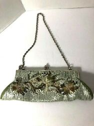 Green Beaded Sequin Seed Beads Evening Bag Clutch Wedding Party Purse Ellea NYC $14.99