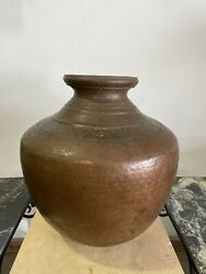 Large 22 Antique Hand Hammered Copper Alloy Water Vessel W/ Decorative Pattern