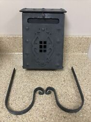 Antique Arts And Crafts Mission Wall Mount Black Metal Mailbox Hammered Vintage