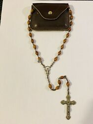 Nice Vintage Genuine Cocoa Beads 25'' Rosary Italy Antique + Leather Pouch