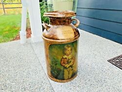 Beautiful Old Vintage English 10 Gallon Steel Milk Jug Can With Lid L@@k