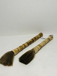 Chinese Calligraphy Brush Set Of Two 17 And 20 Sweet Horsehair Looks Great