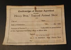 Henry Bros Trained Animal Show Confirmation of License Agreement 1930#x27;s RARE