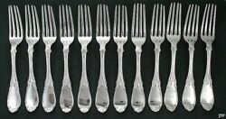 12 American Coin Silver Forks Smith And Chamberlain Mid 1800s