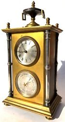 Antique Gilt And Silvered Bronze Desk Clock And Thermometer Chinoiserie Style