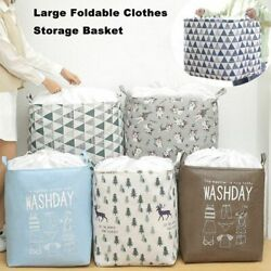 Clothes Storage Basket Cotton Linen Foldable Eco Friendly Fabric Toys Candy Bins