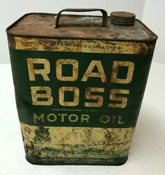 Vintage Two 2 Gallon Road Boss Motor Oil Can Tin Empty Gas Service Station As Is