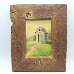 Vintage Outhouse Painting Rustic Wood Frame Framed Oil On Canvas Bathroom Art