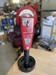 Vintage Red Duncan 60 Parking Meter With Stand And Key, Working