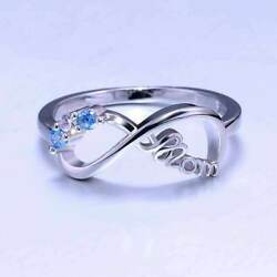 925 Silver Infinity Blue White Crystal Zircon Ring For Women Jewelry Momand039s Gift