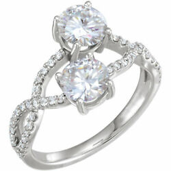6 Mm Forever Un Andtrade Moissanite And 1/5 Cts Bague Diamant En 14k Or