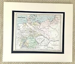 Antique Map Of The German Empire Germany Bavaria Old 19th Century Victorian 1884
