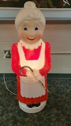Vintage Blow Mold 41 Mrs Santa Claus Don Featherstone With Candy Cane