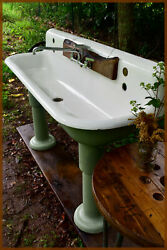 Sixty Inch Set Kohler Vintage Cast Iron Industrial Trough Sink With Support Legs