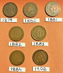 1880 1881 1883 1887 1894 1898 1899 1908 Indian Head Penny Cents, 8 Coins