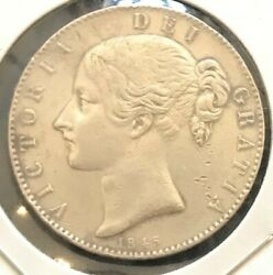 1845 Great Britain Victoria Silver Crown Strong Strike Fantastic Condition