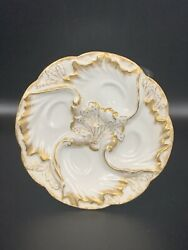Antique Haviland Limoges White And Gold Lady's Oyster Plate. 1891-1900