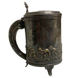Vintage Denmark Small Silver Plate Tankard With Lid Floral Design Marked Epns