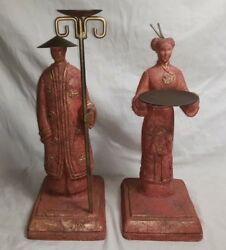 Pair Of Volcanic Stone Oriental Couple Statues Incense Burners Mt. Pinatubo