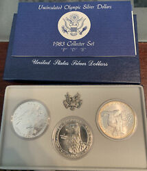 1983 P D S Olympic Commemorative Silver Dollars - 3-coin Collector Set Rare Set