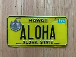 Vintage 1970and039s Hawaii License Plate Authentic Aloha Plate And Very Rare