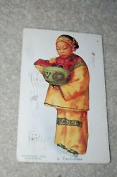 Antique Postcard Chinese Girl 9 Lighting The Lantern By Esther Hunt, 1908