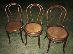Three 3 Antique Oak Bentwood Soda Fountain Ice Cream Parlor Chairs
