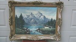 Antique 19c Austrian Oil On Canvas Painting Depicts Alps Mountains,signed Beling