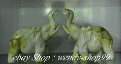12 Chinese Natural Green Xiu Jade Carved Auspicious Elephant Luck Statue Pair