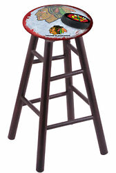Holland Bar Stool Co. Maple Counter Stool In Dark Cherry Finish With Chicago ...