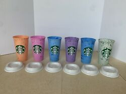 6 Starbucks Marbled Reusable Hot Cups Summer 2013 Coffee Drink Mug Travel Color