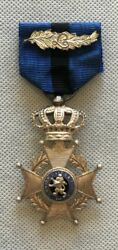 Superb Belgium Kingdom Order Of Leopold Silver Knights Cross With Laurel Leaves.