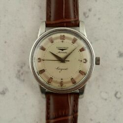 C.1956 Vintage Longines Automatic Conquest Watch Cal.19as Ref. 9000-3 In Steel