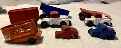 Vintage 1950's Tin Litho Toy Truck Lot With Trailers, Trucks Tin Toys
