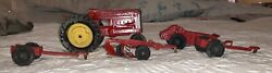 Vintage Hubley Jr. Die Cast Toy Tractor And Farm Implements