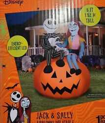 5 Ft Tall Jack And Sally On Pumpkin Nightmare Before Christmas Airblown Inflatable